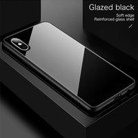 Luxury Plain Mirror Tempered Glass Phone Case For iPhone 11 & 12 Series