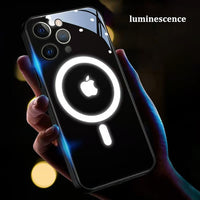 Voice Controlled Luminous Magnetic Suction MagSafe Glass Case for iPhone 11 12 Pro Max