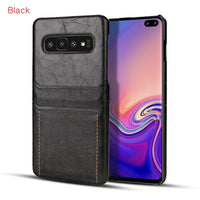 Leather Back Case With Card Slot for Samsung Galaxy S10 Plus S10 Lite S9 S9 Plus