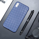 Leather TPU Weaving BV Grid Cover Breathable Mesh Case For iPhone 12 11 Series