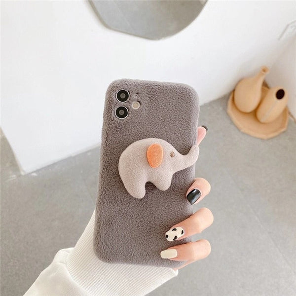 Korea Winter Furry Elephant Rabbit Cartoon Soft TPU Shockproof Case For iPhone 11 Series