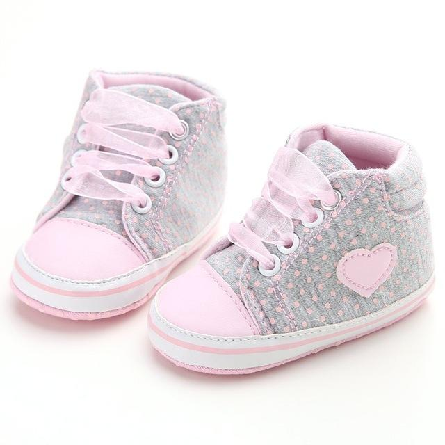 Polka Dots Baby Girls Autumn Lace-Up First Walkers Sneakers Shoes