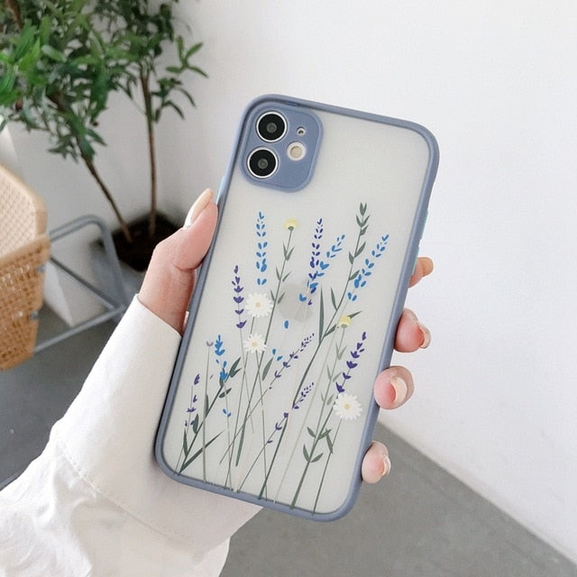 Fashion Flowers Floral Transparent Matte Shockproof Case For iPhone 11 Series