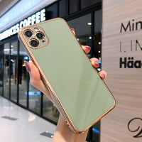 Bling Gold Soft Slim Cover Square Frame Plating Protection Case For iPhone 11 Series