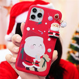 3D Doll Cartoon Christmas Santa Reindeer Tree Gift Case For iPhone 12 Series