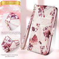 PU Leather Magnetic Flowers Marble Pattern Card Slot Wallet Bracket Cover Case for iPhone 12 & 11 Series