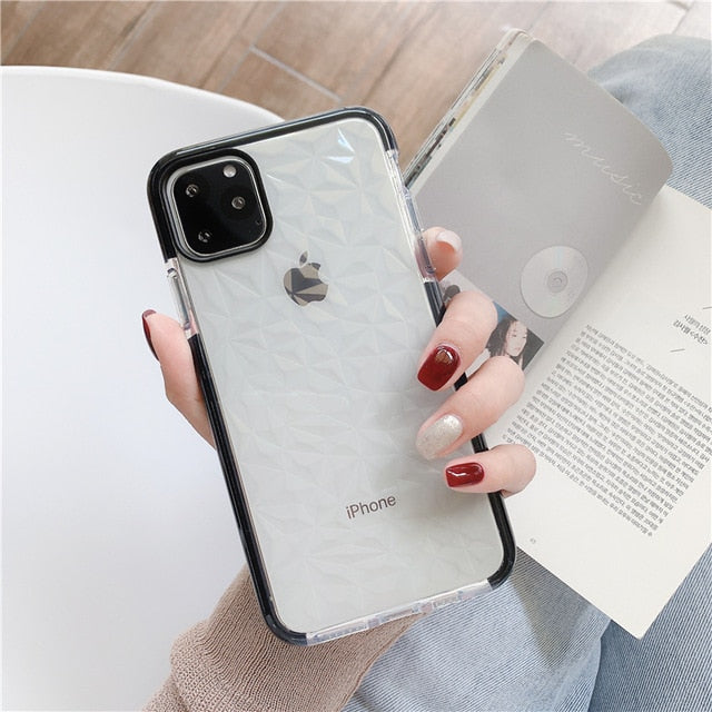 Luxury Shockproof Geometric Clear Soft Silicon TPU Phone Case For iPhone 11 Series