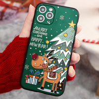 3D Relief Emboss Christmas Cartoon Phone Case For iPhone 12 & 11 Series