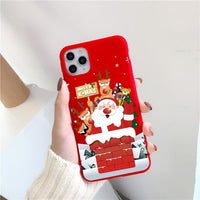 Merry Christmas Cartoon Elk Silicon Case For iPhone 12 Series