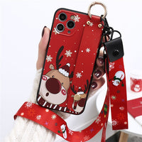 Christmas Cartoon Wrist Strap Lanyard Case For iPhone 12 Series