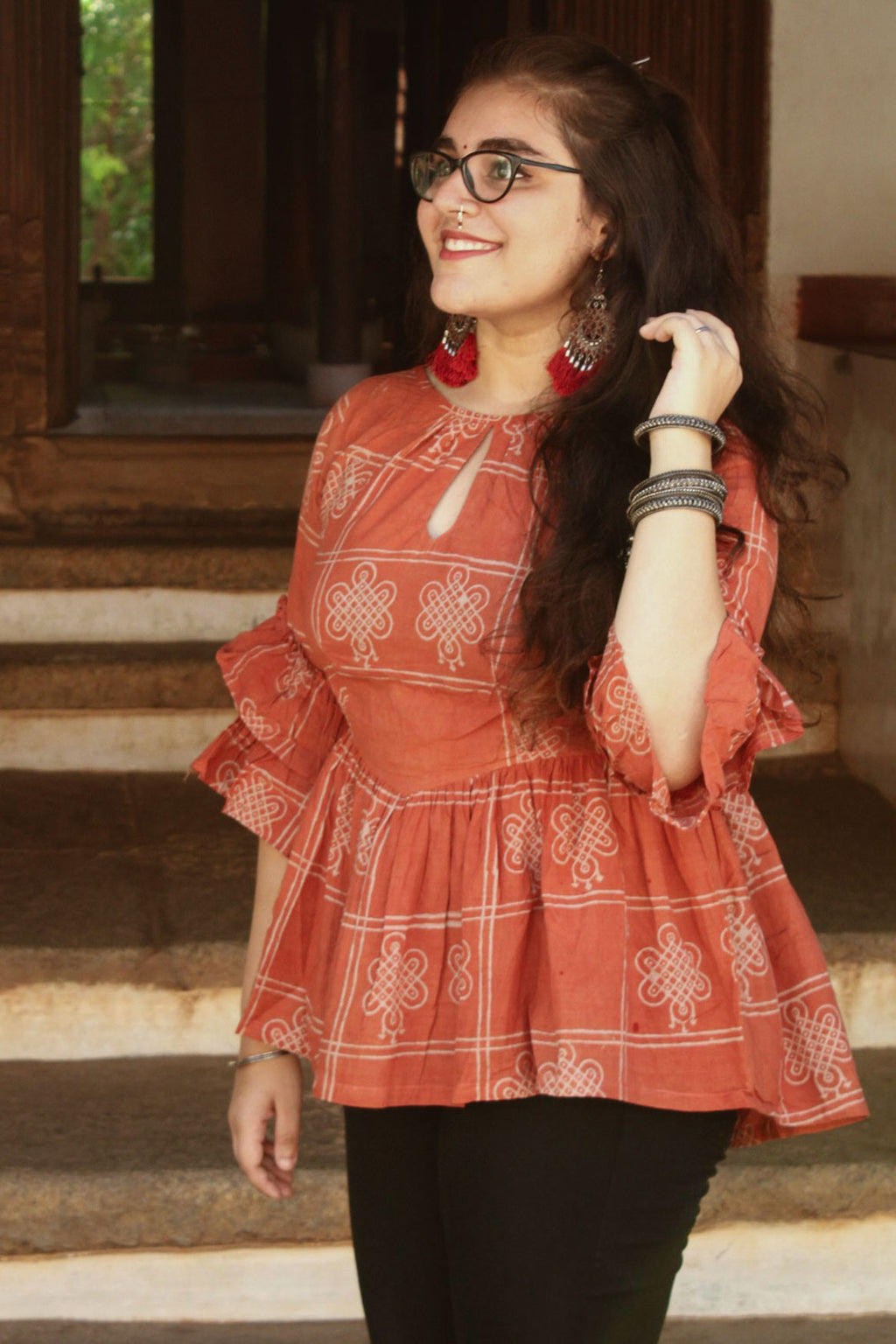 Peach Ruffled top - Sikhat