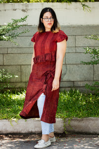 Red side slit dress with tie up - Sikhat