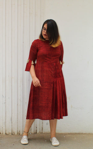 Rust textured dress - Sikhat