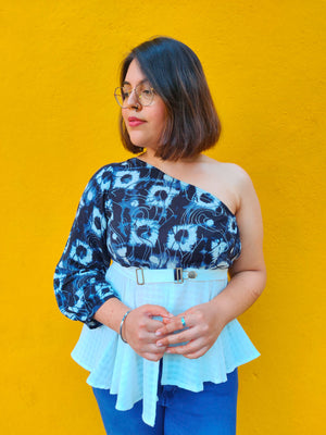 One-shoulder Marble blue/white top - Sikhat