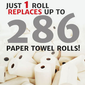 1 roll replaces up to 286 paper towel rolls