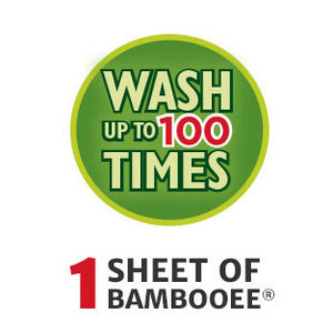 Each sheet of Bambooee washes up to 100 times