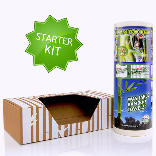 Bambooee starter kit, includes eco dispenser and 30 piece roll of Bambooee