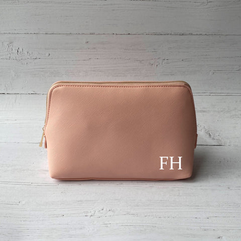 Leather Initials Make Up Bag