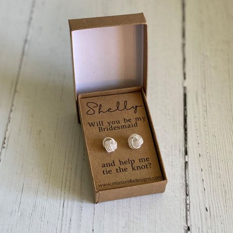 Bridesmaid Proposal Tie The Knot Earrings