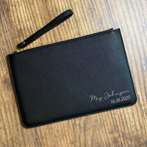 Mrs Surname & Date Clutch Bag