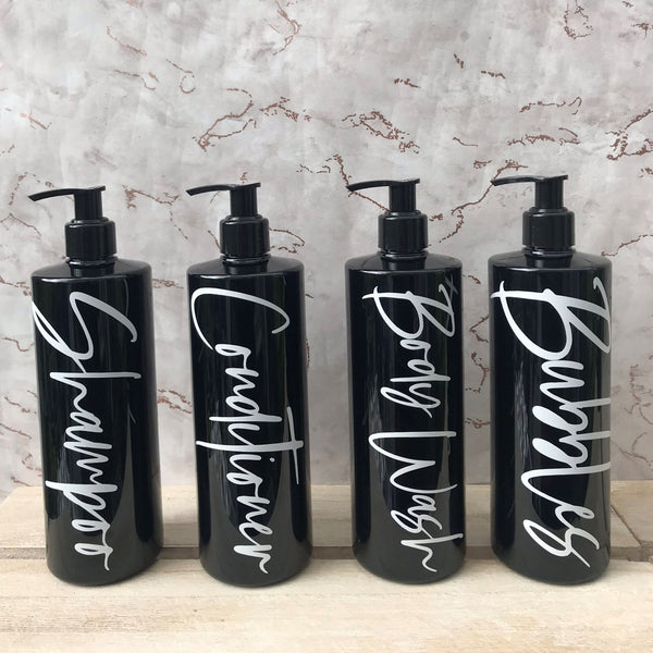 Black and White Pump Bottles