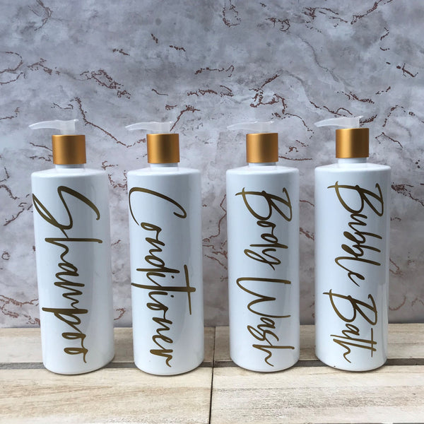White and Gold Pump Bottles