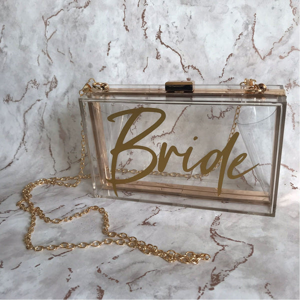 Acrylic Box Clutch Bag - Bride