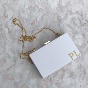 Acrylic Box Clutch Bag - Initials Small Corner