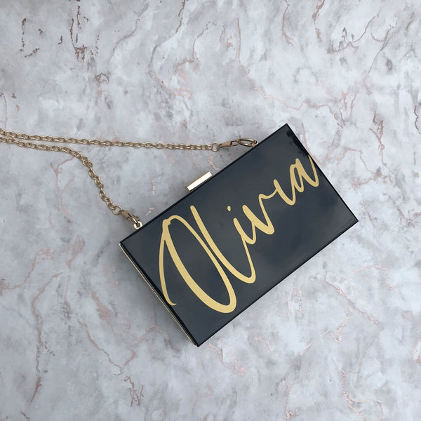 Acrylic Box Clutch Bag - Name