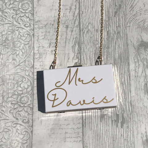 Acrylic Box Clutch Bag - Personalised Mrs - Bag