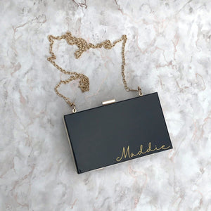 Acrylic Box Clutch Bag - Small Name