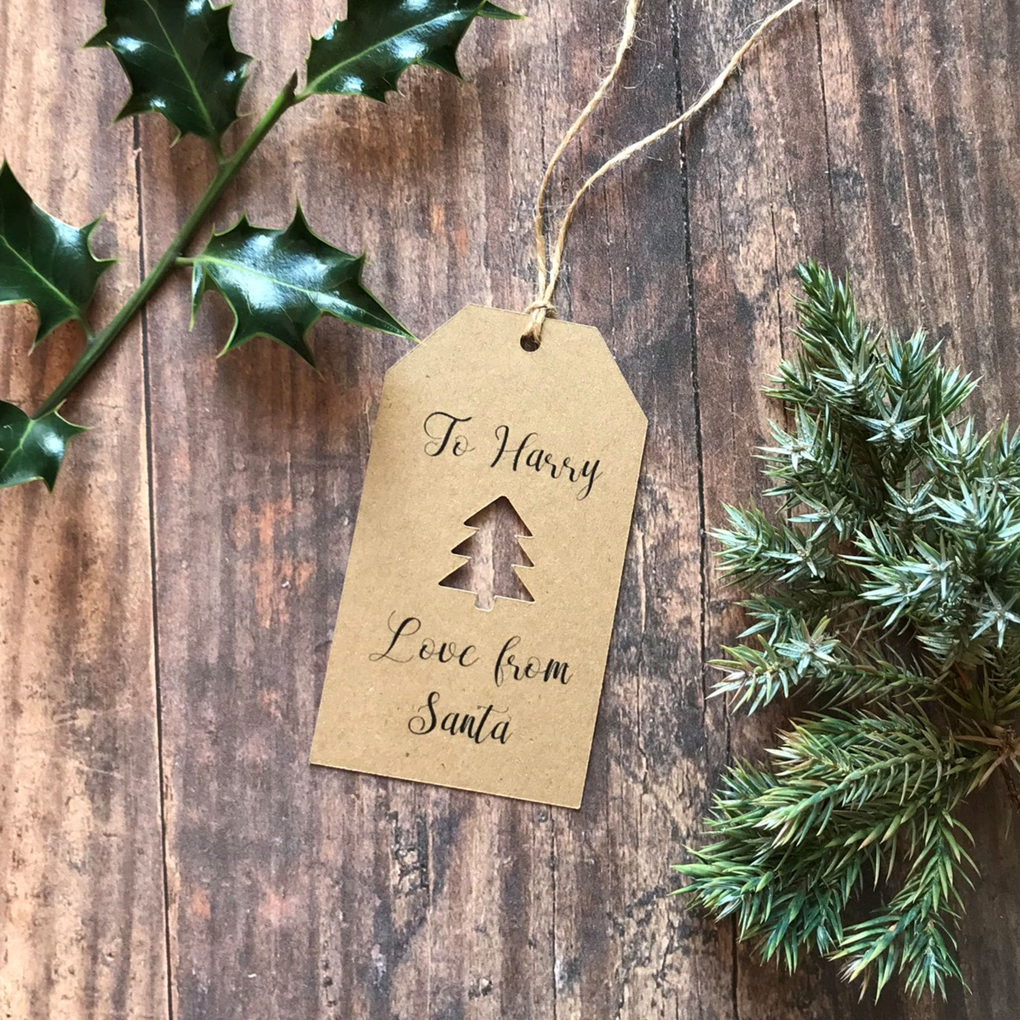 Christmas Tree Cut Out From Santa Gift Tag