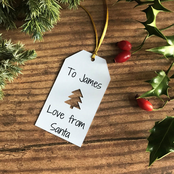 Christmas Tree Cut Out From Santa Gift Tag - Gift Tag