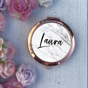 Compact Mirror - Marble - Custom Font Style - Compact Mirror