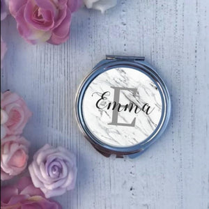 Compact Mirror - Marble Name & Initial - Compact Mirror
