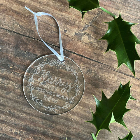 Engraved Babies First Christmas Tree Decoration - Bauble