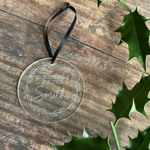 Engraved Christmas At The Christmas Tree Decoration - Bauble