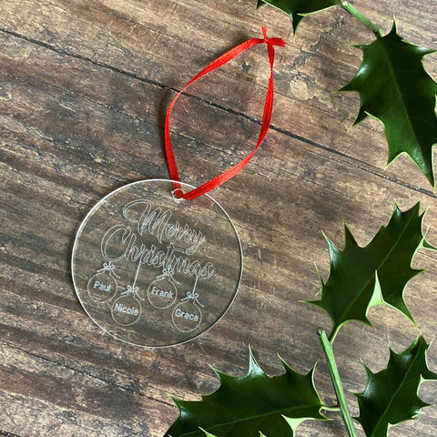 Engraved Family Christmas Tree Decoration - Bauble