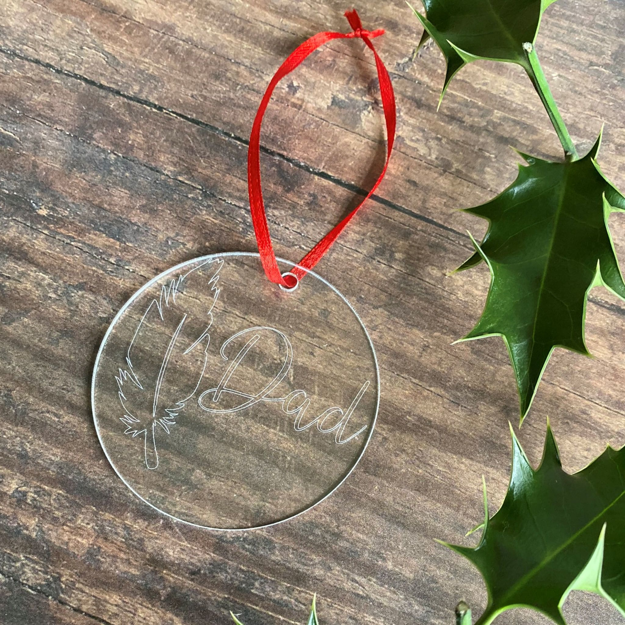 Engraved Feather & Name Christmas Tree Decoration