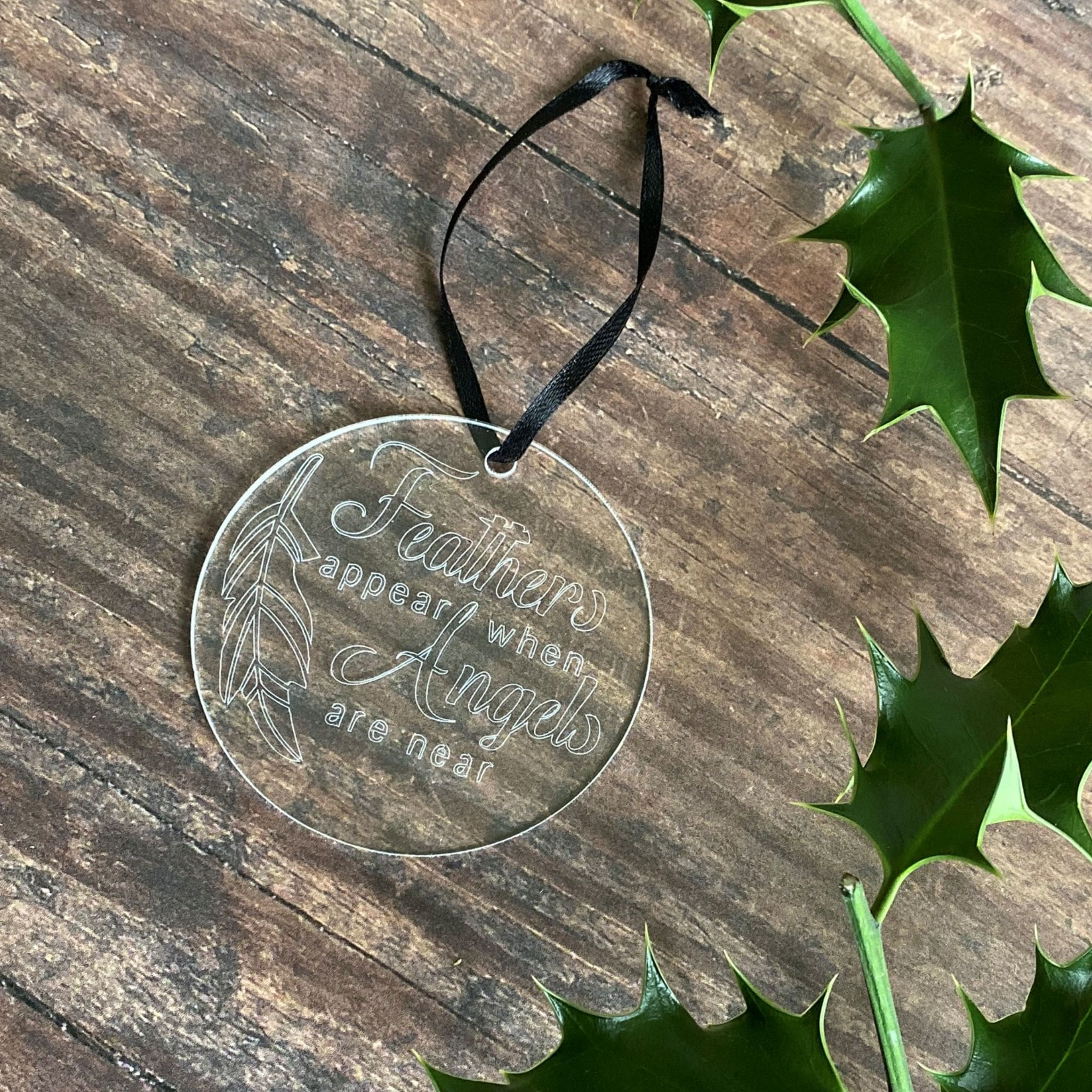 Engraved 'Feathers Appear When Angels Are Near Christmas Tree Decoration