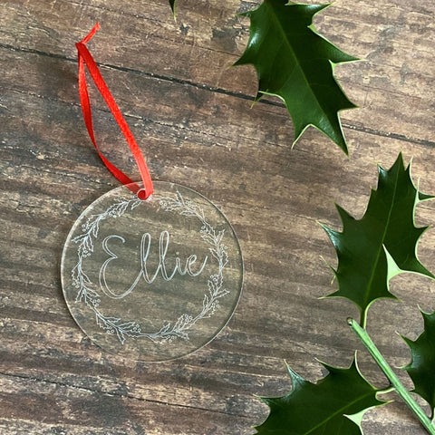 Engraved Name Christmas Tree Decoration - Bauble