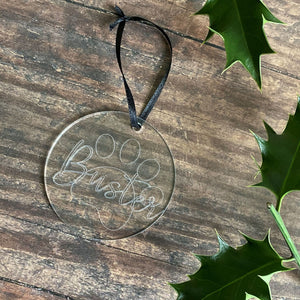 Engraved Pet Paw & Name Christmas Tree Decoration - Bauble