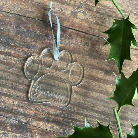 Engraved Pet Paw Shape Christmas Tree Decoration - Bauble