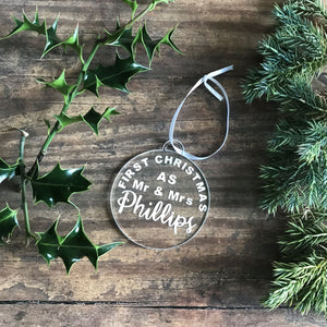 First Christmas As Mr & Mrs Christmas Tree Decoration - Bauble