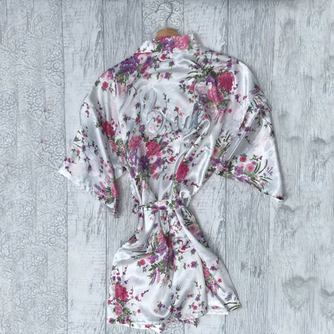 Flower Pattern Wedding Dressing Gown - Adult - Dressing Gown