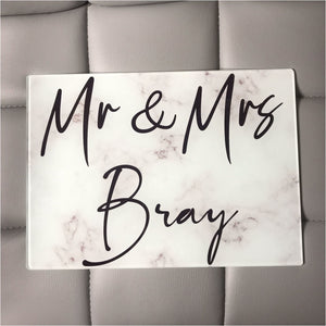 Marble Effect Glass Chopping Board - Mr & Mrs - Chopping Board