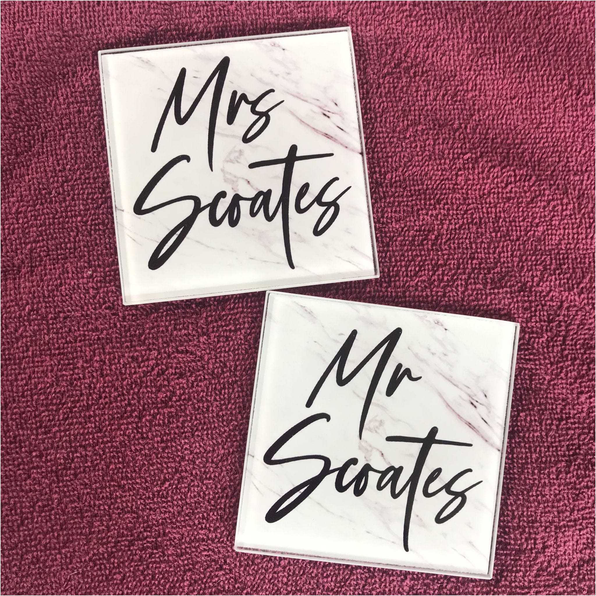 Marble Effect Mr & Mrs Glass Coasters - Coaster