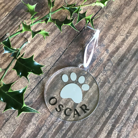 Pet Paw & Name Christmas Decoration - Bauble