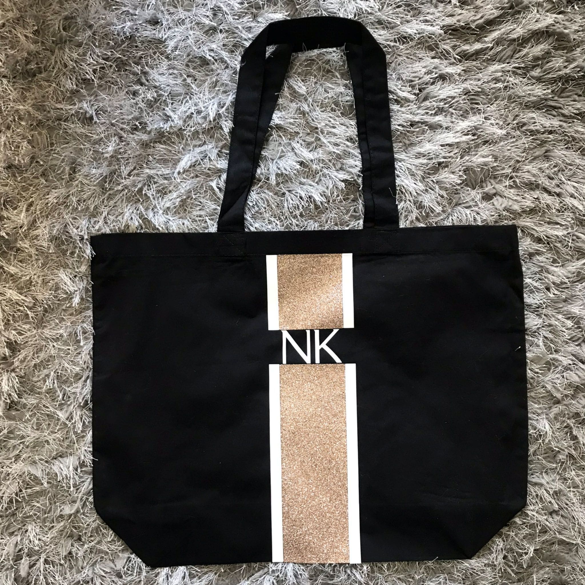 Rose Gold Glitter Initials Bag
