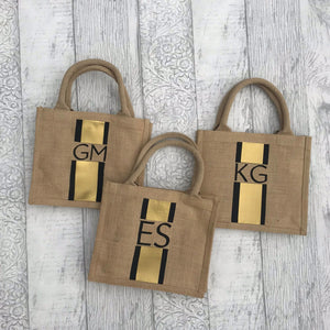 Stripe & Initial Jute Bag